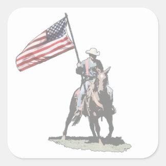 Patriot on horseback square sticker