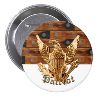 Patriot on wood background button