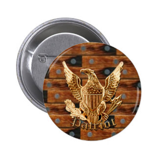 Patriot on wood background 2 inch round button