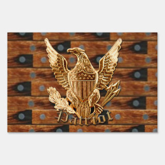 Patriot on wood background sign