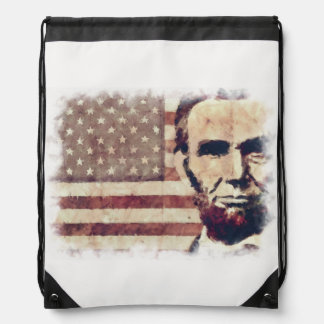Patriot President Abraham Lincoln Drawstring Bag