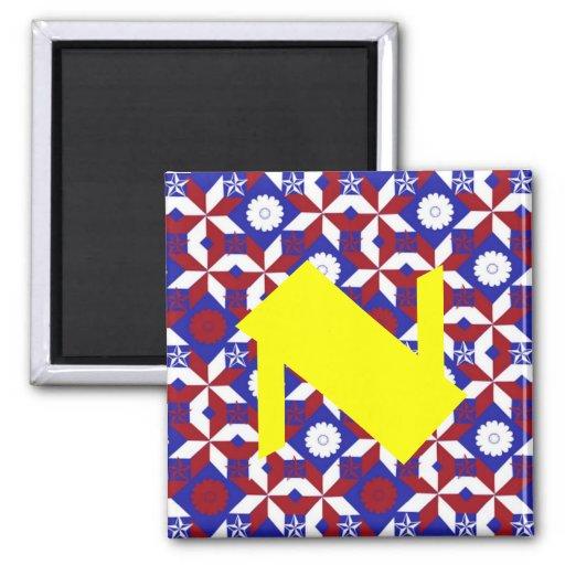 Patriot Star Quilt 2 Inch Square Magnet