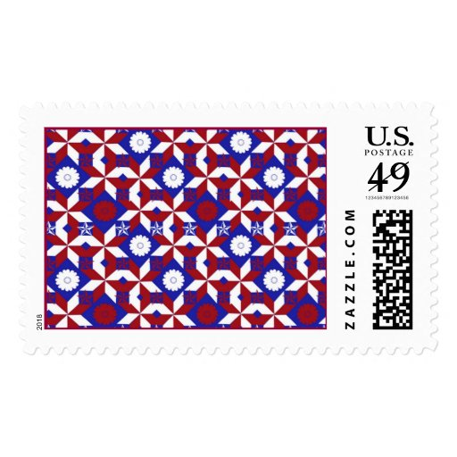 Patriot Star Quilt Postage Stamp
