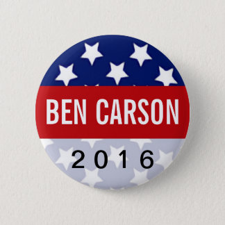 Patriot Stars Ben Carson for President 2016 Pinback Button