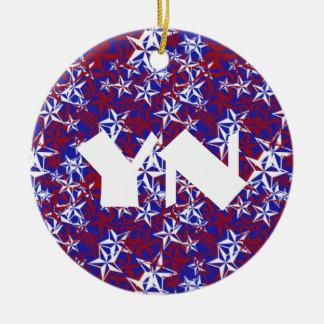 Patriot Stars monogrammed Ceramic Ornament
