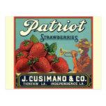 Patriot Strawberries Vintage Fruit Crate Label Art Postcards