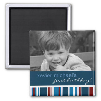 Patriot Stripe Birthday Photo Magnet