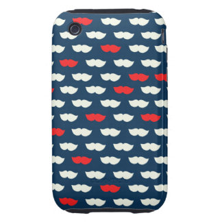 Patriot Vintage Red White Moustaches iPhone 3 Tough Cover