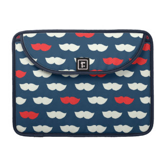 Patriot Vintage Red White Moustaches MacBook Pro Sleeve