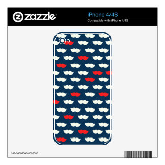 Patriot Vintage Red White Moustaches iPhone 4S Decal