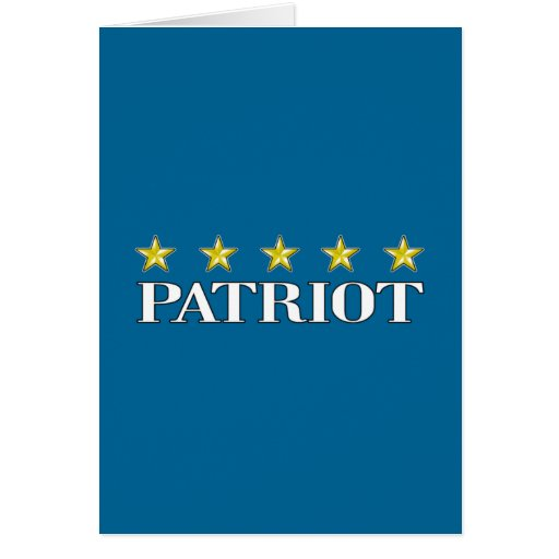 Patriota de cinco estrellas tarjeta de felicitación