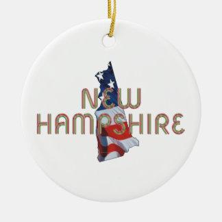 Patriota de New Hampshire Adorno Navideño Redondo De Cerámica