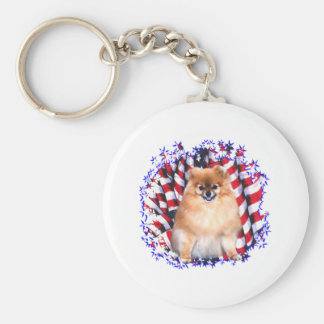 Patriota de Pomeranian Llavero Redondo Tipo Pin