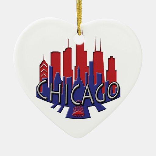 Patriota del newwave del horizonte de Chicago Adorno Navideño De Cerámica En Forma De Corazón