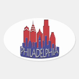 Patriota del newwave del horizonte de Philly Pegatina Ovalada