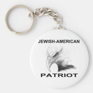 Patriota Judío-Americano Llavero Redondo Tipo Pin