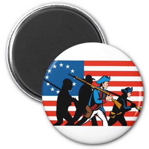 patriota revolucionario americano del soldado imán redondo 5 cm