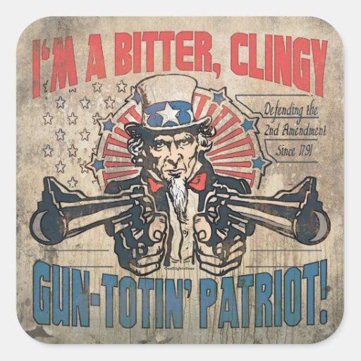 Patriota Toting del arma amargo, ceñido Pegatina Cuadrada