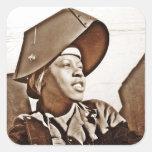 Patriotas afroamericanos de las mujeres pegatina cuadrada