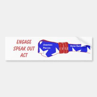 patriotas americanos, outAct de EngageSpeak Pegatina De Parachoque