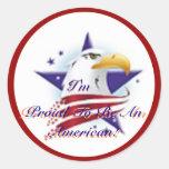 ¡patrioteagle, orgulloso ser un americano! , T org Pegatinas Redondas
