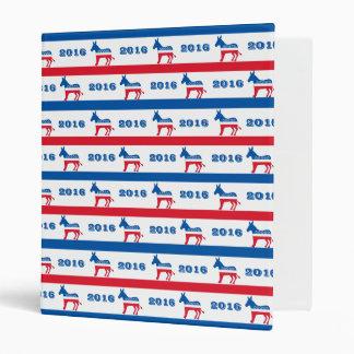 Patriotic 2016 Democrat Donkey Stripes Binder