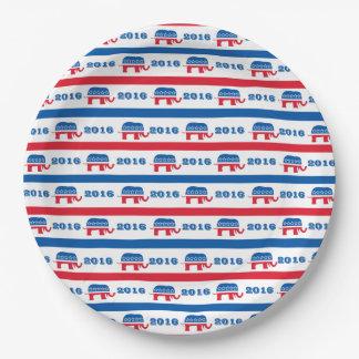 Patriotic 2016 Republican Elephant Stripes 9 Inch Paper Plate