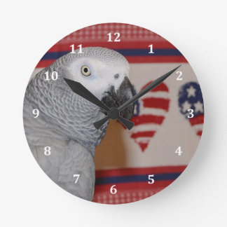 Patriotic 4th of July African Grey Round Clock