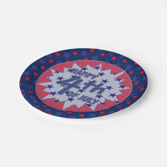 Patriotic 4th of July Custom Paper Plates 7""