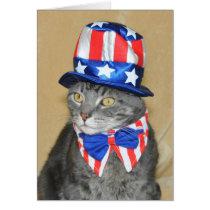 Patriotic 4th of July Gray Tabby Cat card