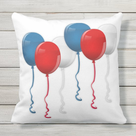 Patriotic, 4th of July, Red White & Blue Balloons Outdoor Pillow