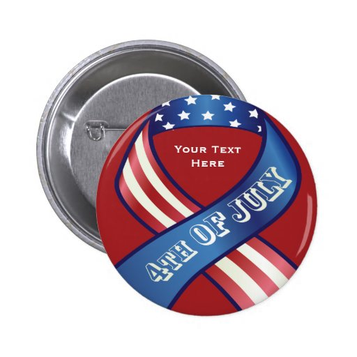 Patriotic 4th Of July Ribbon Button