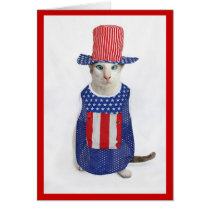 Patriotic 4th of July Siamese Cat Card
