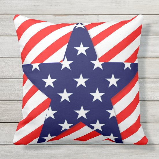Patriotic, 4th of July, Star Design Throw Pillow