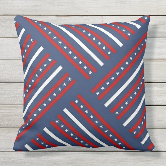 Patriotic, 4th of July, Stars & Stripes Outdoor Pillow