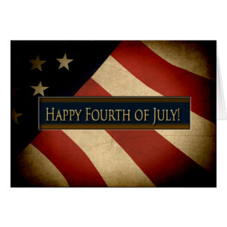 PATRIOTIC - 4TH OF JULY - WEATHERED FLAG CARD