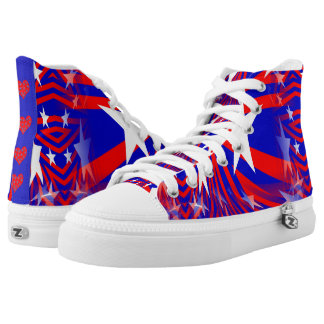 Patriotic Abstract Red White Blue Hi-Top Shoes Printed Shoes