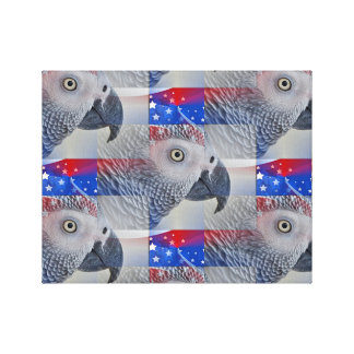 Patriotic African Grey Canvas Print