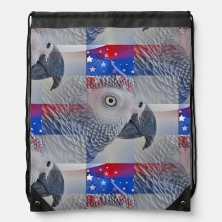 Patriotic African Grey Drawstring Bag