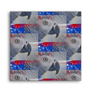 Patriotic African Grey Envelope