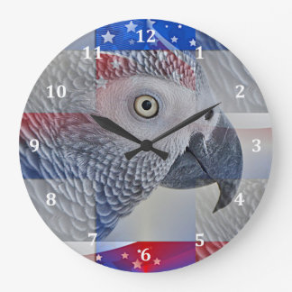Patriotic African Grey Large Clock