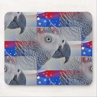 Patriotic African Grey Mouse Pad