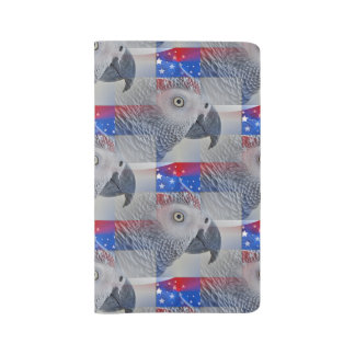 Patriotic African Grey Large Moleskine Notebook Cover With Notebook