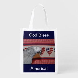 Patriotic African Grey Parrot Grocery Bag