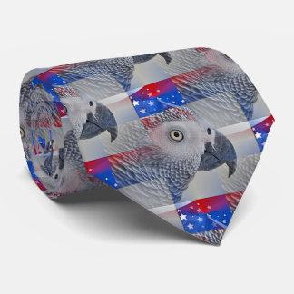 Patriotic African Grey Tie