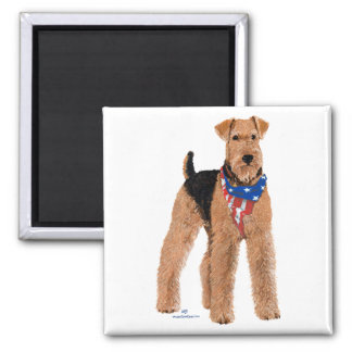 Patriotic Airedale Terrier 2 Inch Square Magnet