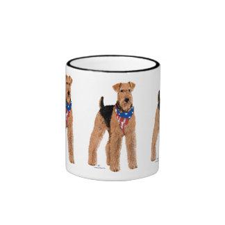 Patriotic Airedale Terrier Ringer Mug