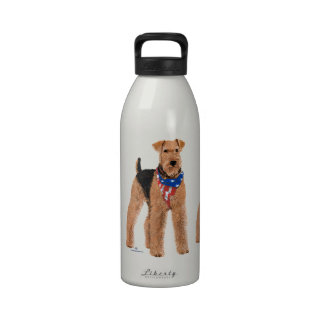 Patriotic Airedale Terrier Water Bottle