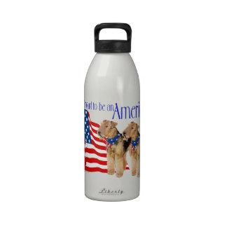 Patriotic Airedale Terriers Reusable Water Bottles