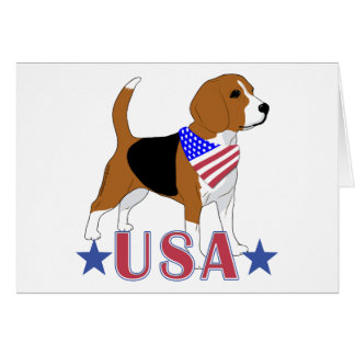 Patriotic All American USA Beagle Card